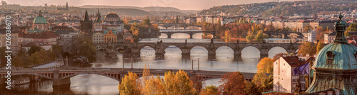 Foto op Plexiglas Praag Prague panorama with bridges on river Vltava at early autumn mor