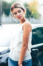 Beautiful Gorgeous Woman Entering A Limousine