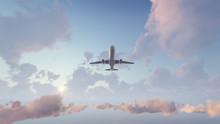 Passenger Airplane Flying Over...