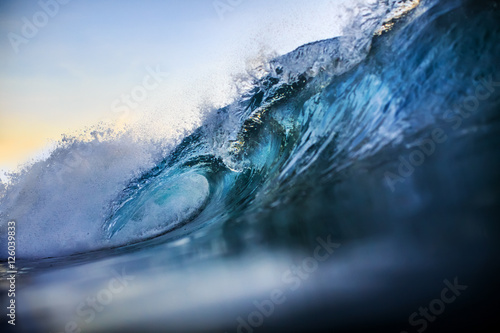 Printed kitchen splashbacks Water Big surfing bright vibrant wave closing with nobody. An ocean tr