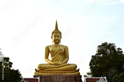 Golden Buddha stands for Buddhist worship . As anchor mind Poster