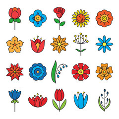 Flower icons set. Modern Thin Contour Line