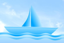 Blue Boat Icon Isolated On A S...
