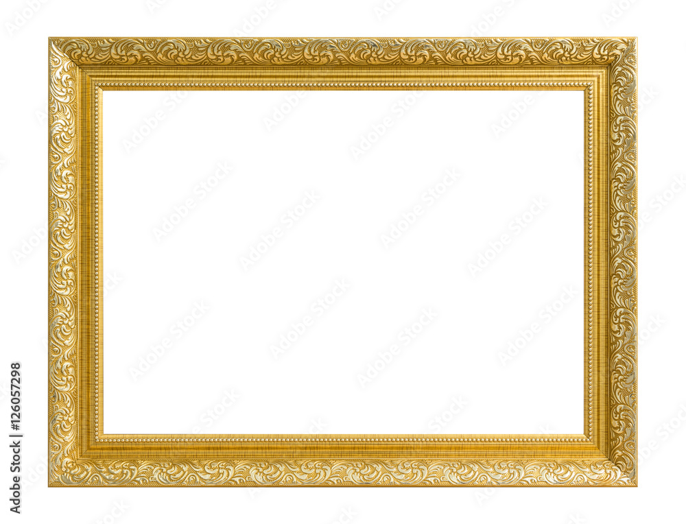 Gold frame. Gold/gilded arts and crafts pattern picture frame. Foto ...