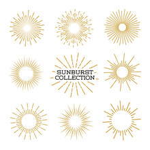 Set Of Sunburst Design Elements Gold Color Isolated On Background. Vintage Style Elements For Graphic And Website Design. Vector Light Rays Elements. Vector Illustration