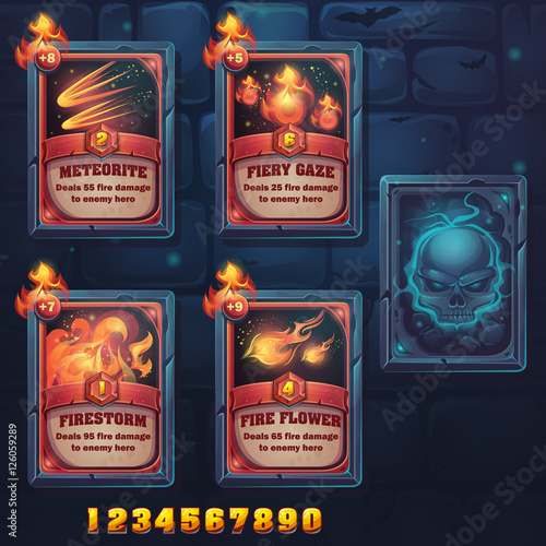 Set spell cards of meteorite, fiery gaze, firestorm, fire flowes Canvas Print