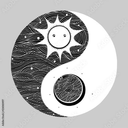 Fotografie, Obraz  yin yang symbol minimal vector hand drawn style illustration design
