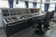 Wheelhouse Or Bridge Navigation With Panel For Control Ship