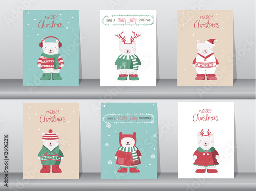 Set Of Cute Merry Christmas Background With Cute Bear And