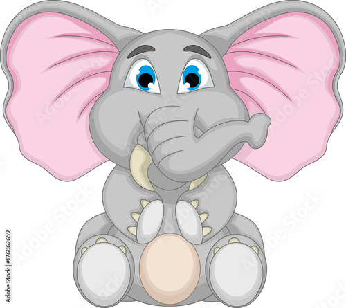 cute baby elephant cartoon sitting Wallpaper Mural