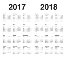 Simple Calendar Template For 2017 And 2018