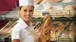 Woman selling fresh bread in bakery shop