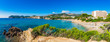 canvas print picture - Panoramic view to the coast of Spain Majorca Peguera beaches Platja de la Romana and de Tora