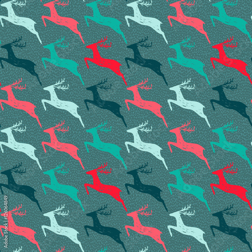 Cotton fabric Seamless pattern with hand drawn deers.