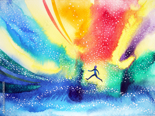 Photo  man running, flying in the colorful universe, watercolor painting