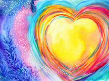 Yellow Moon Heart Watercolor P...