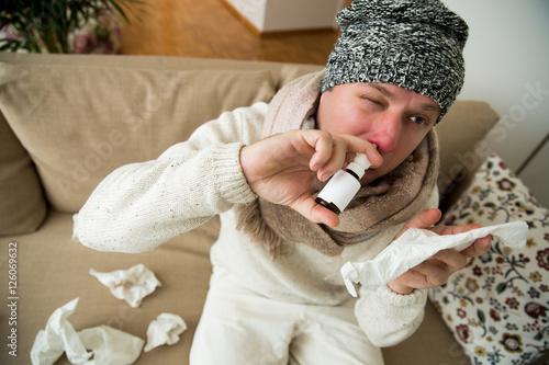 Valokuva  Sick man catch cold