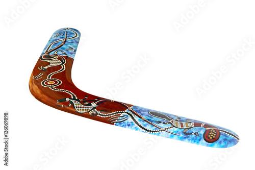 Photo Multicolored australian boomerang isolated on white background.