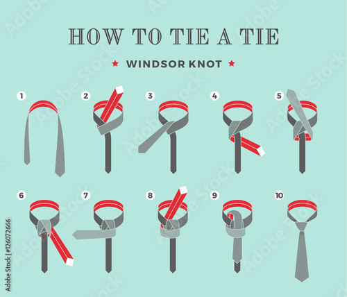Instructions on how to tie a tie on the turquoise background of the instructions on how to tie a tie on the turquoise background of the eight steps ccuart Images