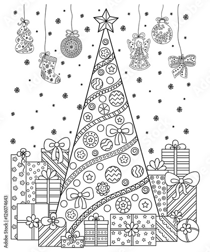 Doodle pattern in black and white. Christmas decorations, Christmas ...