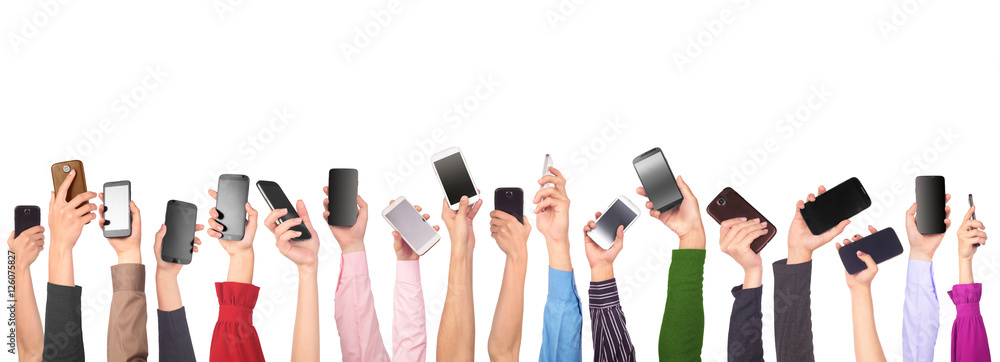 Fototapety, obrazy: Many hands holding mobile phones isolated on white background