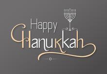 Happy Hanukkah Greeting Lettering