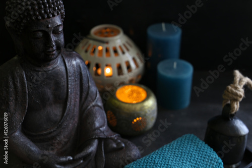 Garden Poster Spa buddah witn candle and towel spa concept