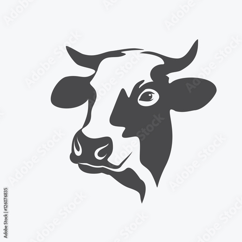 Canvas-taulu holstein cow portrait stylized vector symbol