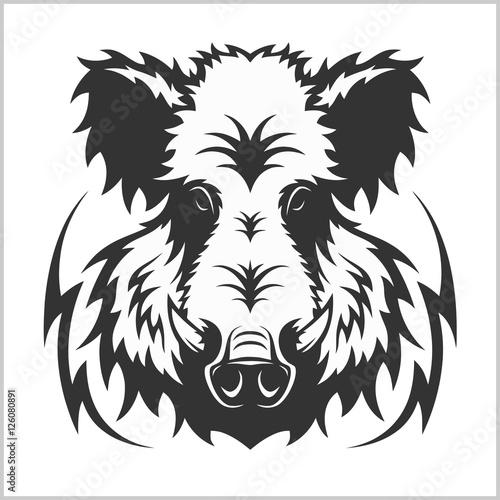 Foto Wildes Eberkopf-Logo-Maskottchen-Emblem