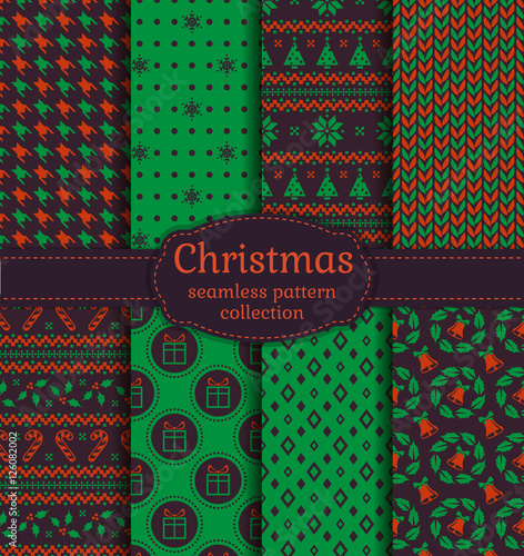 Photo  Christmas seamless patterns. Vector set.