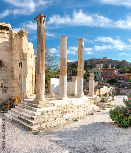 Printed kitchen splashbacks Turkey Remains of Hadrian's Library, Plaka and Acropolis