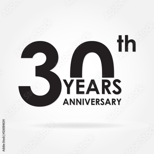 30 years anniversary sign or emblem template for celebration and
