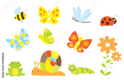 Cartoon insects and bugs colection / vector illustration for children