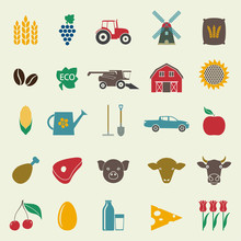 Agriculture And Farming Icon Set.  Gardening Symbols Isolated On White Background. Colorful Vector Illustration.