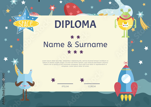 Fototapety, obrazy: Diploma cartoon template. Spaceship, stars. planets, comets. For award for victory in scientific competition. Cartoon space diploma template.