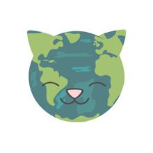Cute Cartoon Cat Earth Planet ...