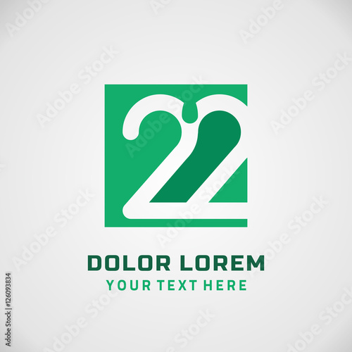 Fotografia  Number twenty two 22 Logo, 22 Icon, filled with Geometric Pattern Vector Element