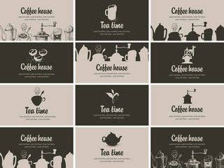 Tapeta set of business cards for restaurant or cafe shop on tea and coffee