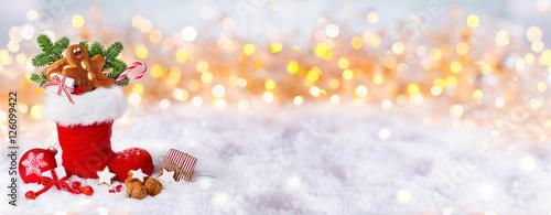 Foto-Doppelrollo - Nikolaus, Weihnachten, Banner  -  Gefüllter Nikolausstiefel im Schnee (von Floydine)
