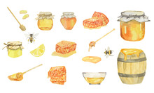 Watercolor Honey Set. Isolated...
