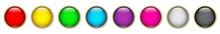 Set: Farbige Runde Buttons Mit Goldrand / Vektor