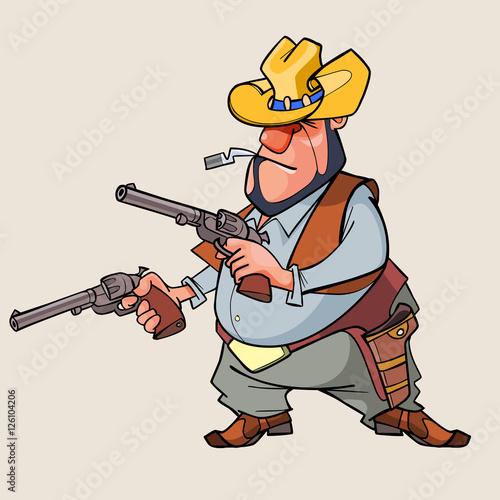 Foto op Plexiglas Wild West cartoon man is a thug with guns