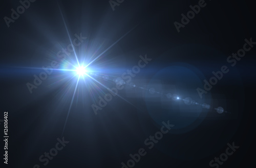 Photo Lens flare effect in space 3D render