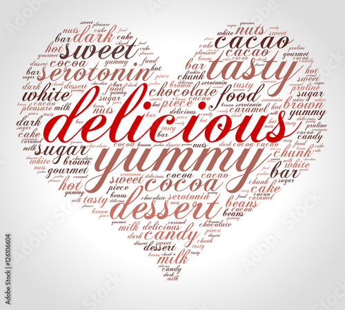 Delicious  Word cloud in a heart shape, italic font, grey background
