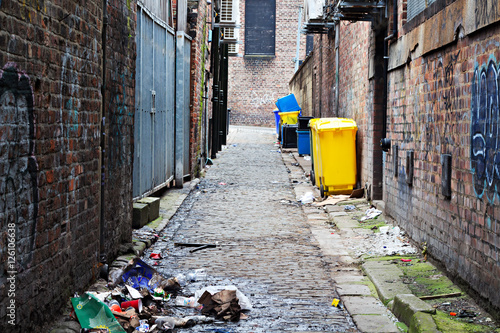 Photo Stands Narrow alley Wheelie bins in a garbage strewn alleyway