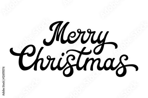 Merry Christmas Brush Lettering Black Letters Isolated On White