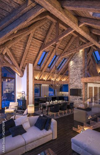 Obraz na plátně  3D rendering of evening living room of chalet