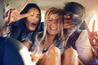 canvas print picture - Three beautiful female friends make peace signs