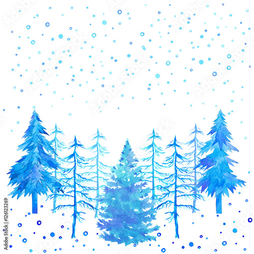 Winter Time Light Blue Treeschristmas Trees And Snowfall Watercolor