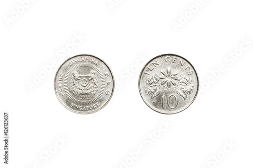 Front and back of Singapore coin 10 cent. Poster